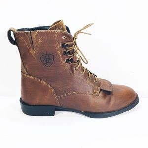 Ariat Lacer Kiltie Leather Rodeo Lace Up Boot 9.5B